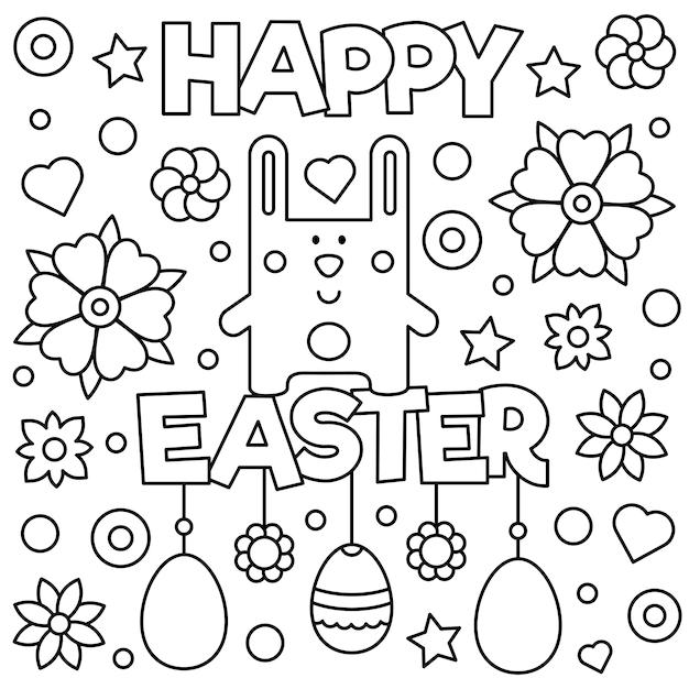 Feliz Pascoa Pagina Para Colorir Ilustracao Vetorial Vetor Premium