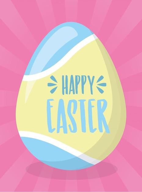 Feliz páscoa pintura ovo cartão Vetor grátis