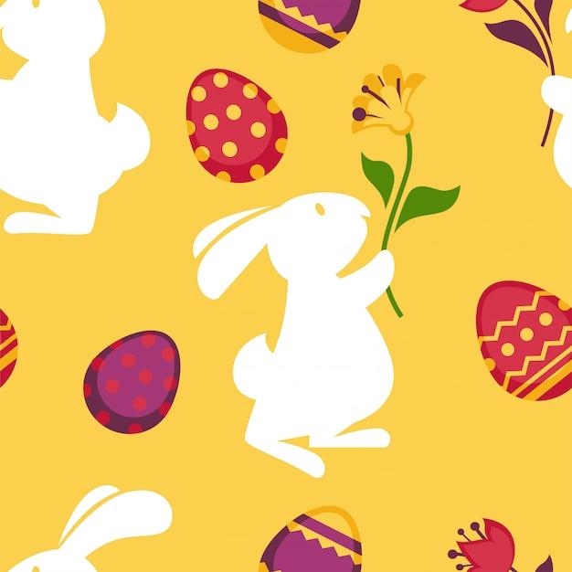 Feliz páscoa sem costura padrão com ovos decorados Vetor Premium