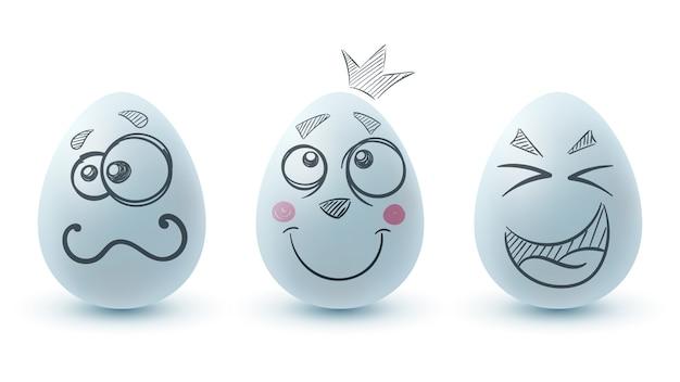 Feliz páscoa. três ovos Vetor Premium