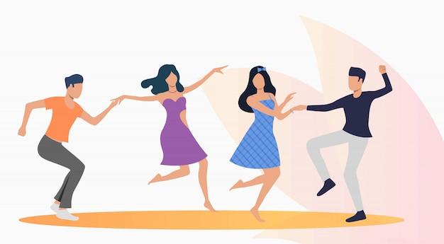 Feliz, pessoas, dançar, salsa Vetor grátis