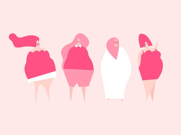 Feliz plus size mulheres vector Vetor grátis