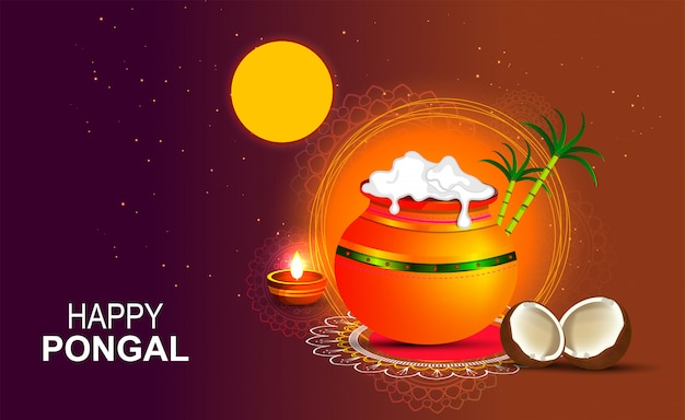 Feliz pongal festival religioso do sul da índia. Vetor Premium