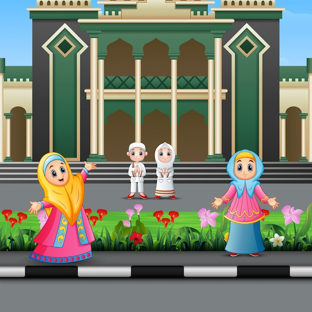 Feliz povo muçulmano dos desenhos animados na frente de uma mesquita Vetor Premium