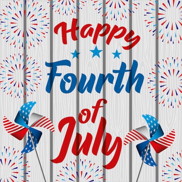 Feliz quatro de julho. cartão do dia da independência Vetor Premium