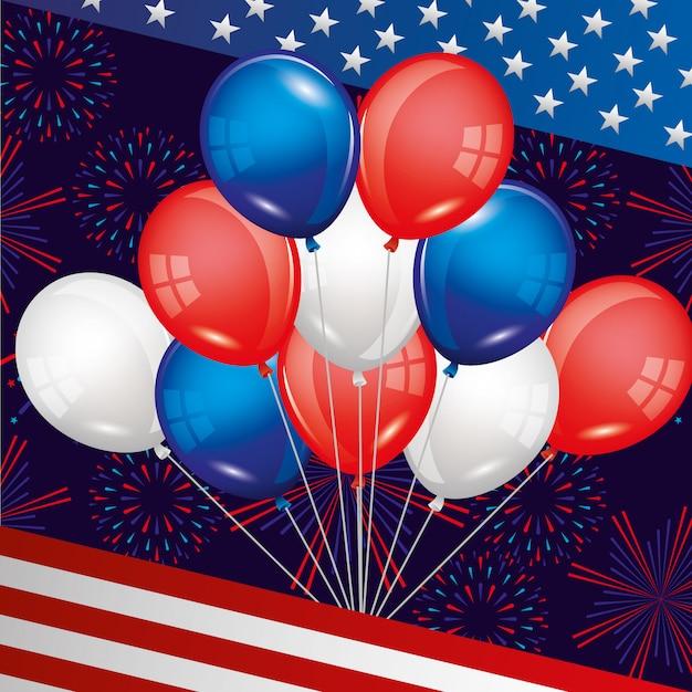 Feliz quatro de julho. dia da independência dos eua Vetor Premium