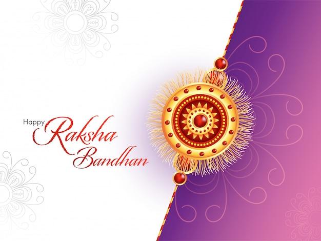 Feliz raksha bandhan font com rakhi bonito (pulseira) em fundo floral branco e roxo. Vetor Premium