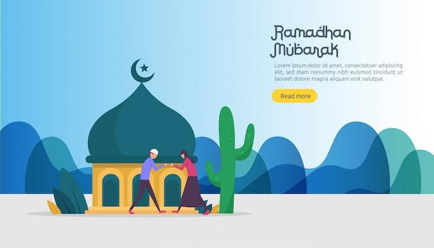 Feliz ramadan mubarak saudação conceito com caráter de pessoas Vetor Premium