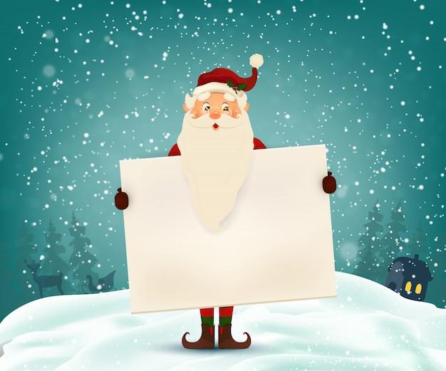 Feliz sorridente papai noel com placa, banner de propaganda. desenho animado papai noel fofo personagem com espaço branco cópia, queda de neve. Vetor Premium