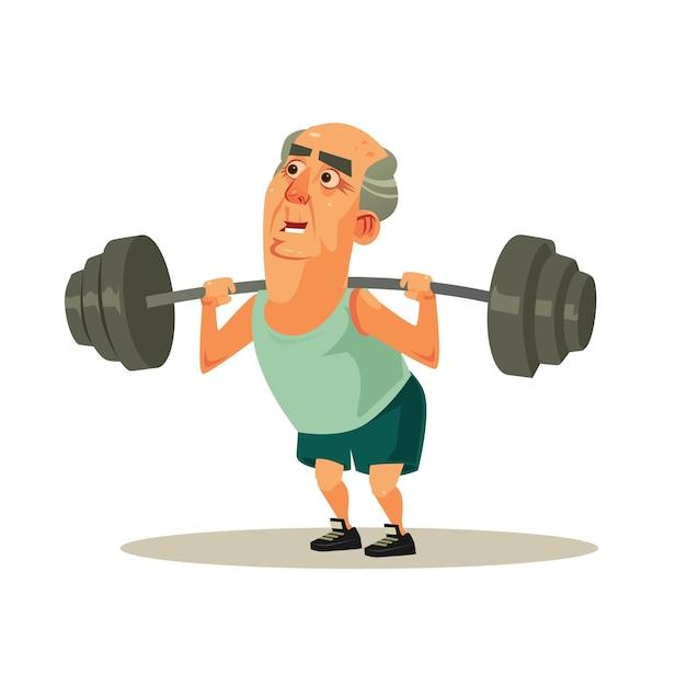 Feliz sorridente vovô velho personagem fazendo exercícios de exercício com halteres. aposentadoria de estilo de vida saudável e ativo Vetor Premium