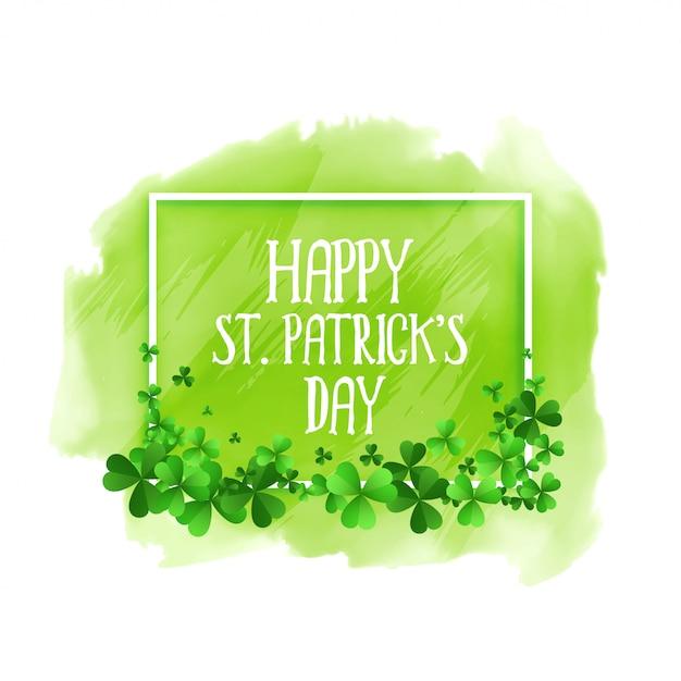 Feliz st patricks day fundo aquarela verde Vetor grátis