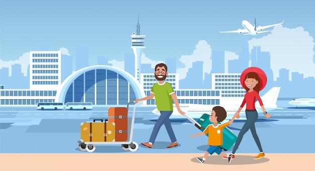Feliz turistas viajam com vetor de desenhos animados de companhia aérea Vetor Premium