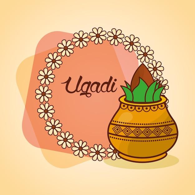 Feliz ugadi decorou a coroa de kalash floral Vetor Premium