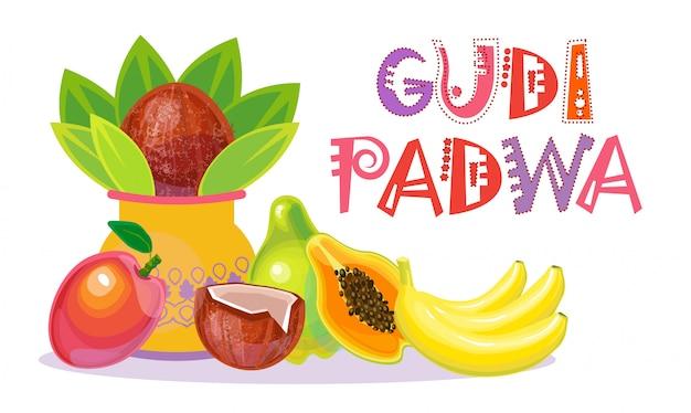 Feliz ugadi e gudi padwa hindu ano novo cartão feriado pot com coco Vetor Premium