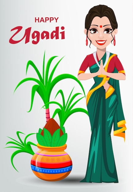 Feliz ugadi greeting card com linda mulher indiana Vetor Premium