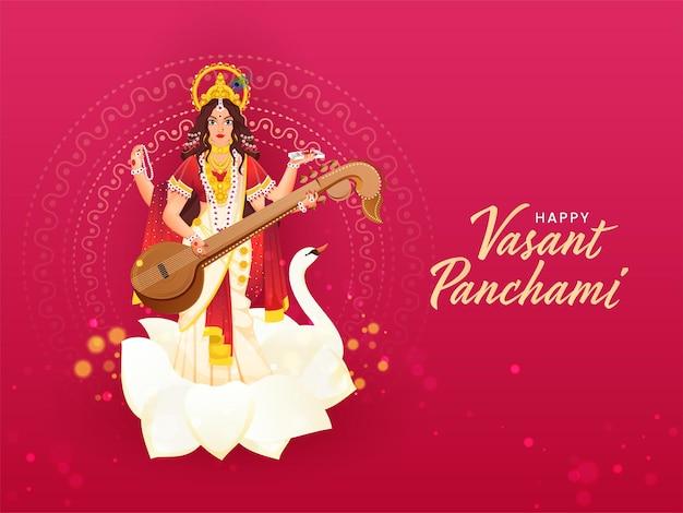 Feliz vasant panchami texto escrito em idioma hindi com a bela personagem saraswati da deusa Vetor Premium