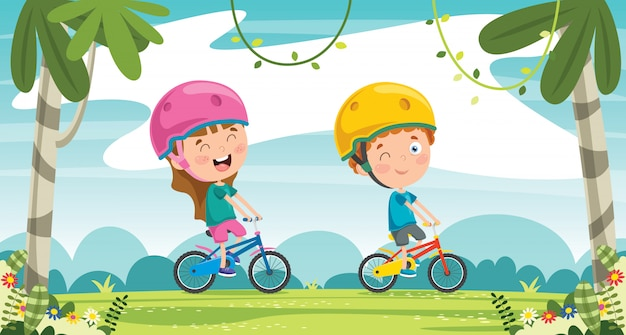 Felizes crianças andando de bicicleta na selva Vetor Premium