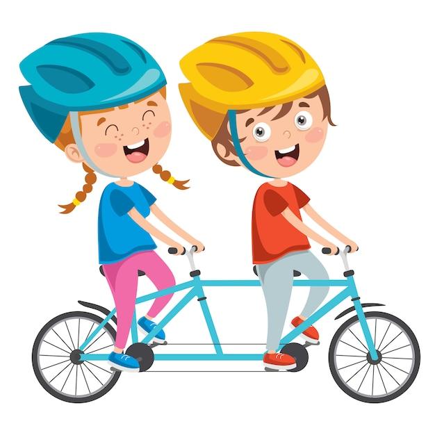 Felizes Criancas Andando De Bicicleta Vetor Premium
