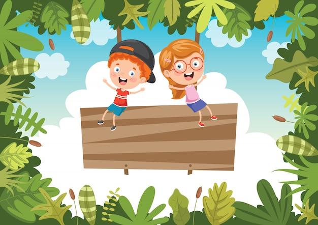 Felizes crianças brincando na selva Vetor Premium