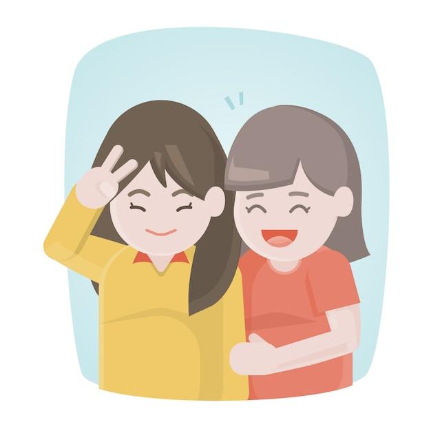 Felizes duas amigas rindo e abraçam juntos Vetor Premium