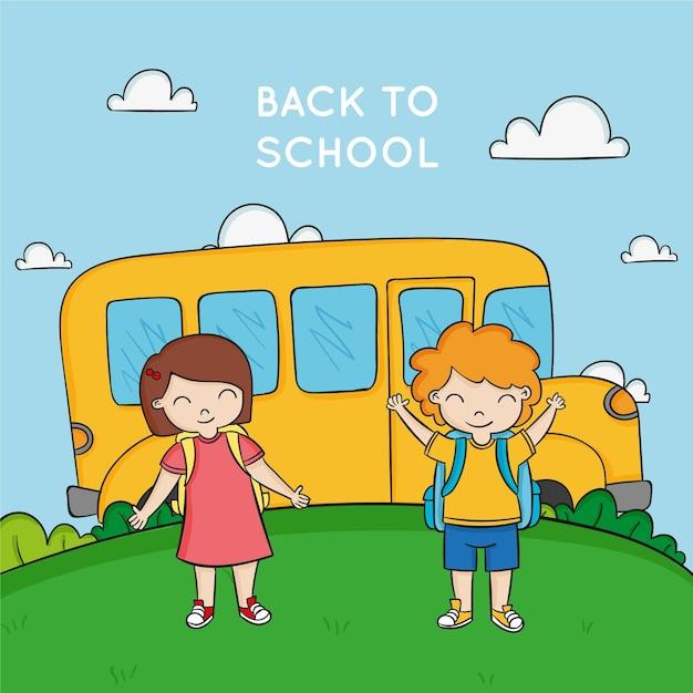 Felizes jovens estudantes e ônibus escolar amarelo Vetor grátis