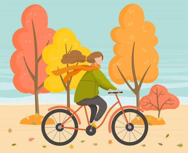 Fêmea de bicicleta no parque outono, esporte Vetor Premium