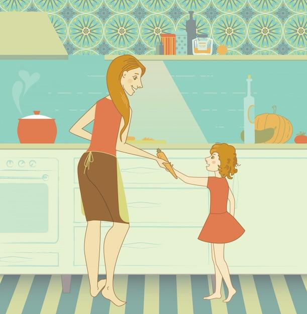 Femenino, joven, cocina, familia, cocina, madre, hija, comida, diversión, amor, muchacha, persona, mujer, niño, sonrisa, felicidad, alegre, cocinero, delantal, maternidad, feliz, hogar, adulto, comida, vestido, cena, vegetal, niñez, aprendizaje, juntos, clip-art, pote, chef, hogar Vetor grátis