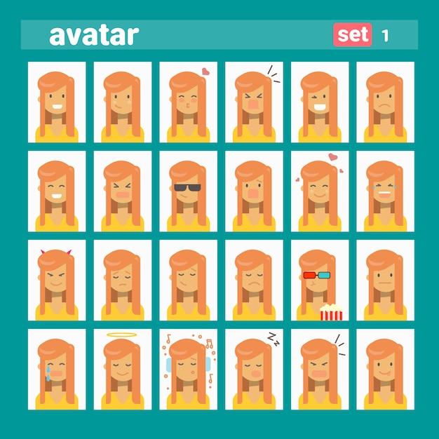 Feminino diferente emoção definir perfil avatar, mulher cartoon retrato rosto coleção Vetor Premium