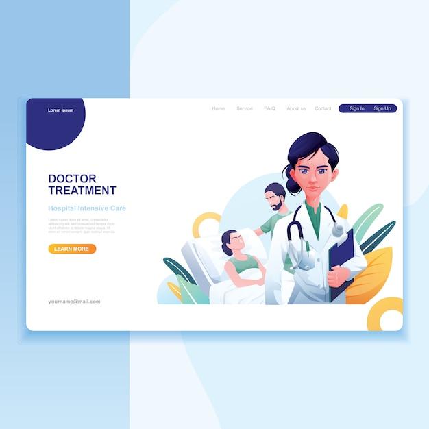 Feminino médico paciente e enfermeira como plano de fundo Vetor Premium