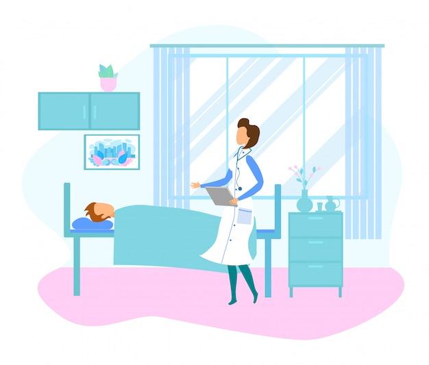 Feminino médico visita paciente deitado na cama do hospital Vetor Premium