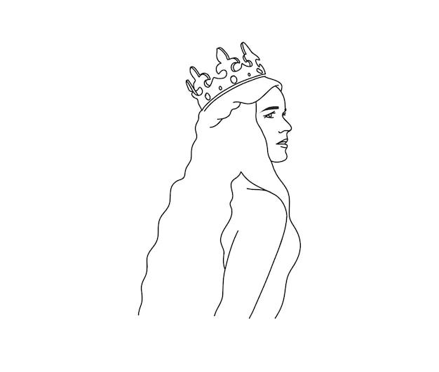 Feminino no ícone da arte linha sagrada coroa dourada em estilo simples, isolado no fundo branco Vetor Premium