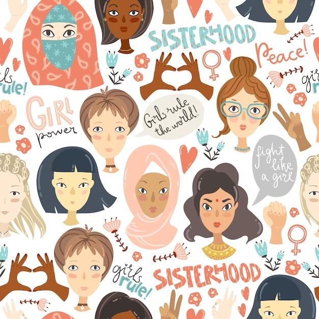 Feminismo. padrão sem emenda com retratos de mulheres e feminismo sig Vetor Premium