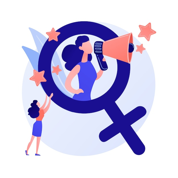 Feminismo. proteção dos direitos das mulheres. movimento social e político. ideologia, patriarcado, discriminação sexual. igualdade de gênero. ativistas femininas. ilustração em vetor conceito metáfora isolado. Vetor grátis