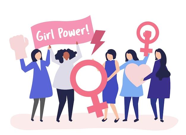 Feministas apoiando a igualdade de gênero com uma manifestação pacífica Vetor grátis