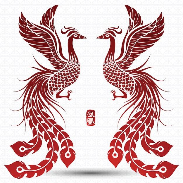 Fênix chinesa Vetor Premium