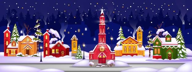 Feriado de inverno, natal abriga ilustração com cidade em montes de neve Vetor Premium