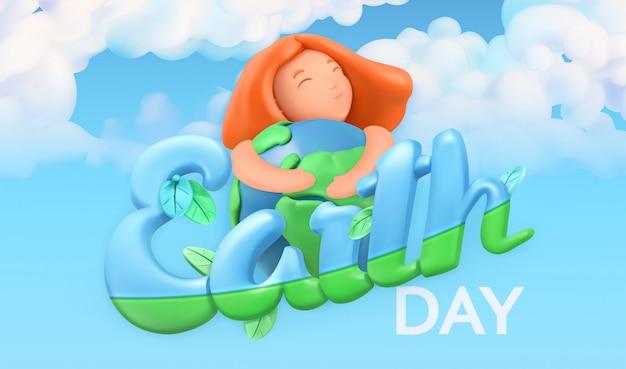 Feriado do dia da terra. fundo de natureza e ecologia. design de cartaz em 3d Vetor Premium