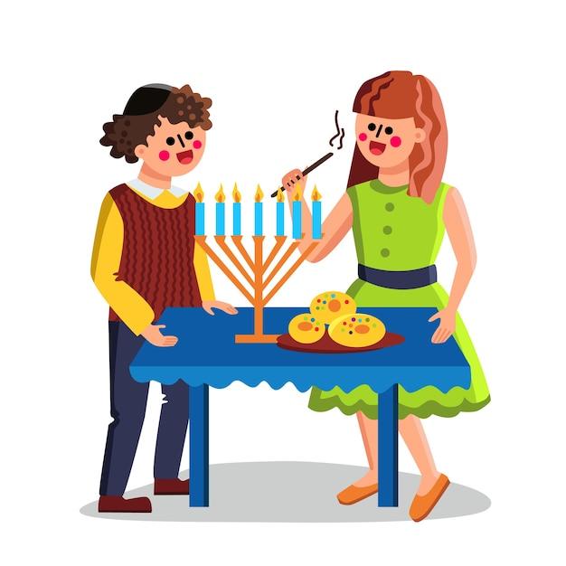 Feriado judaico de hanukkah comemora casal Vetor Premium