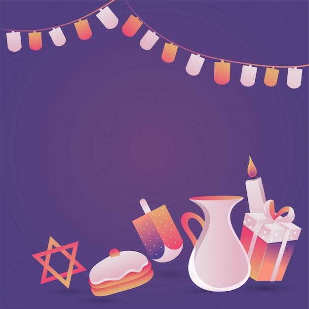 Feriado judaico hanukkah com candel, donut e dreidel de madeira Vetor Premium