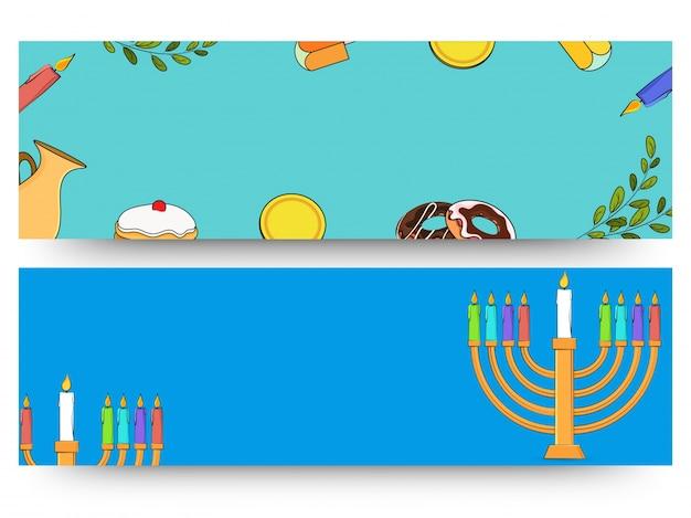 Feriado judaico hanukkah com menorah (candelabro tradicional), donut e dreidel de madeira (spinning top). cabeçalho da web ou banner. Vetor Premium