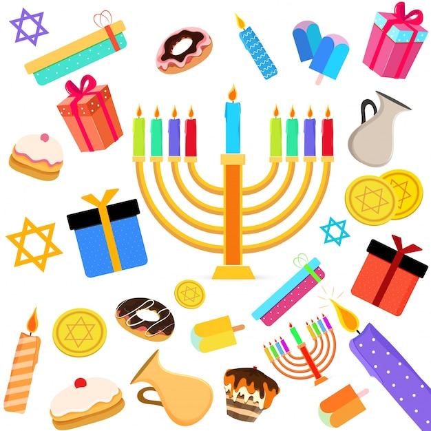 Feriado judaico hanukkah com menorah (candelabro tradicional), donut e dreidel de madeira (spinning top) e outros elementos. Vetor Premium