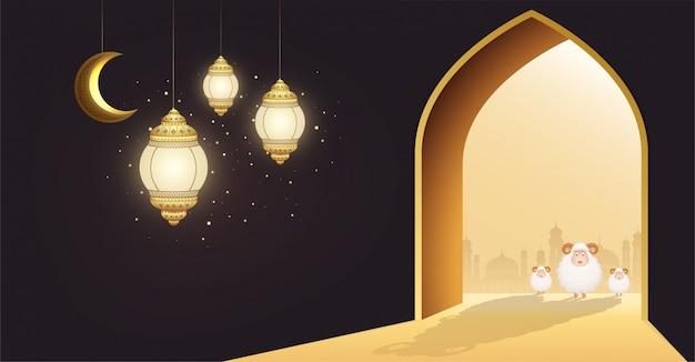 Feriado muçulmano eid al-adha. ovelha branca ou sacrificar um carneiro na porta de uma mesquita com lua crescente e lanternas brilhantes. Vetor Premium