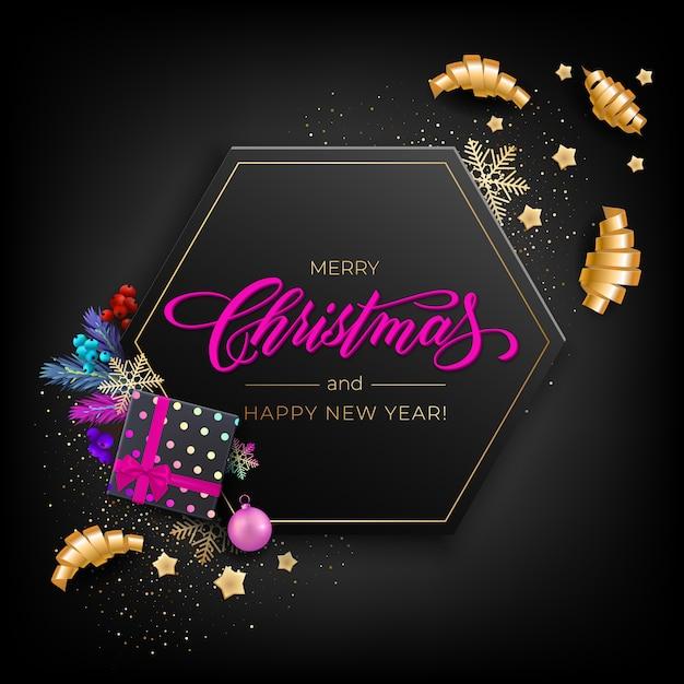 Feriado para cartão de feliz natal com objetos coloridos realistas, decorados com bolas de natal, estrelas douradas, flocos de neve, fitas de festa de ondulação e caixa de presente Vetor Premium