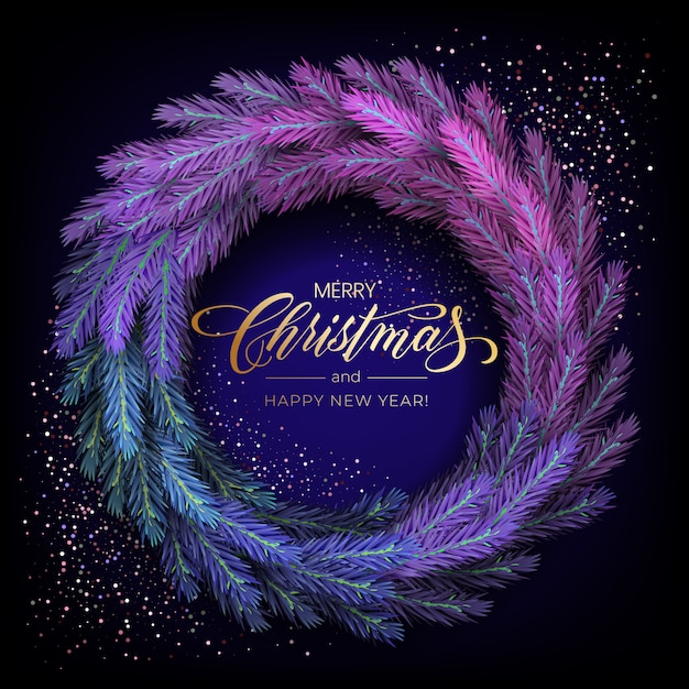 Feriado para cartão de feliz natal com uma grinalda colorida realista de galhos de pinheiro, decorada com luzes de natal, estrelas douradas, flocos de neve Vetor Premium