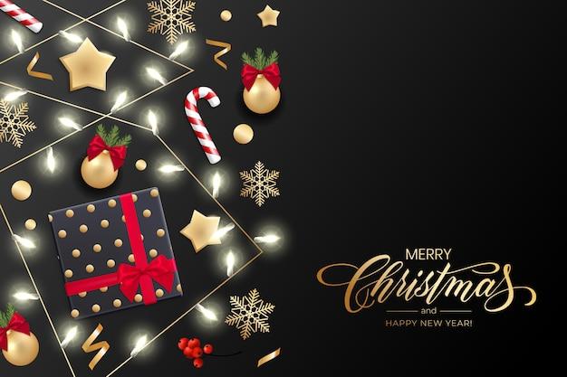 Feriado para feliz natal e feliz ano novo cartão com luzes de natal, estrelas douradas, flocos de neve, caixa de presente Vetor Premium