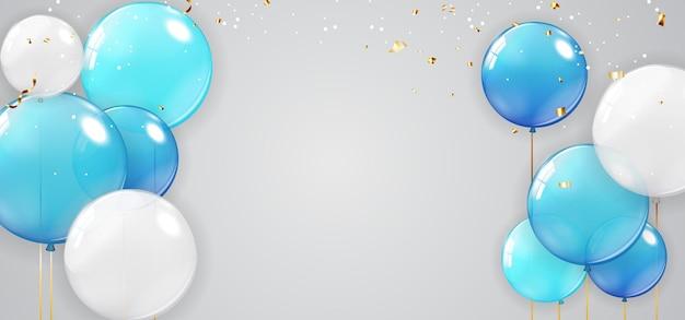Férias, banner de festa com fundo de balões. Vetor Premium