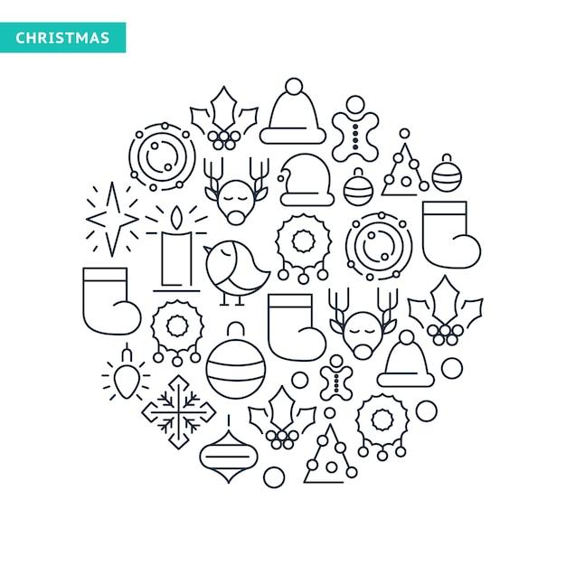 Férias de inverno alinhadas com coleção de ícones com elementos de natal Vetor grátis