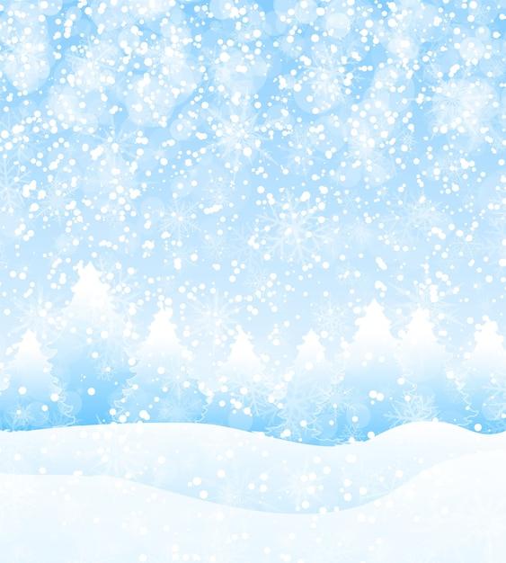 Férias de inverno de vetor paisagem de fundo com árvores, flocos de neve e neve caindo Vetor Premium