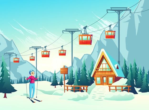 Férias de inverno, lazer fim de semana ativo no resort de montanha Vetor grátis