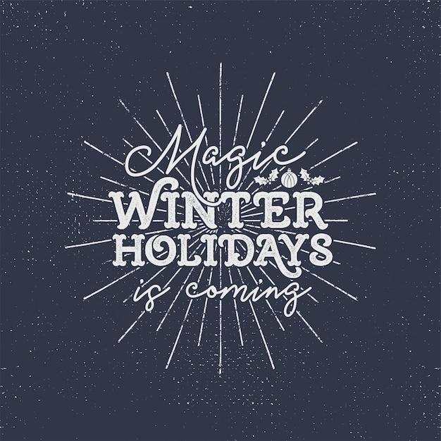 Férias de inverno mágicas estão chegando Vetor Premium
